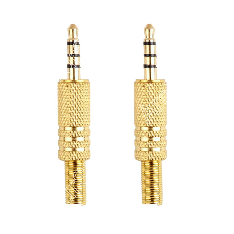 Areyourshop Sale 2pcs Gold Plated Metal 3.5mm 1/8 Audio Video Jack Plug Connector 4PIN Way Pole areyourshop sale 10 pcs nickel plated 4pin female adapter 4pin xlr male plug audio microphone connector
