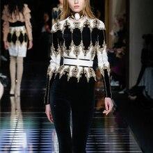 2017 New Fashion Women's Runway Long sleeve luxury heavy handmade beaded shirt