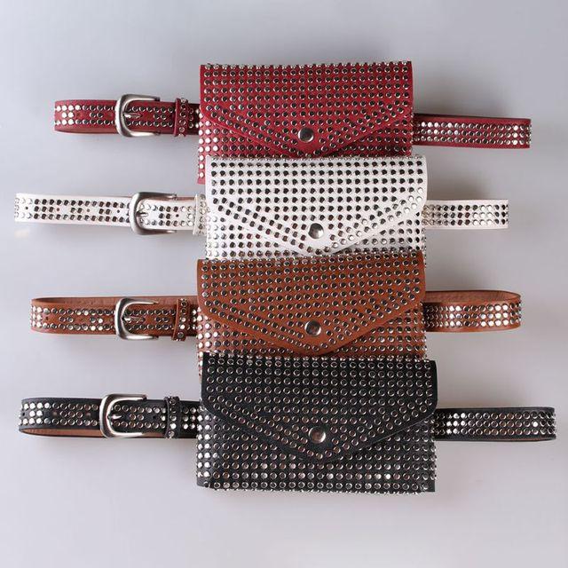 Hot Sell Women Girls Rivet Waist Fanny Pack Belt Bag Pouch Travel Hip Bum Bags Women Small Purse