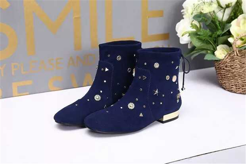 Black/blue round toe low heel ankle boots for women Ladies spring and autumn short boots Fashion boots Female dress shoes spring and autumn women rivets boots fashion black red round toe high heel ankle boots for ladies female sexy thin heel shoes