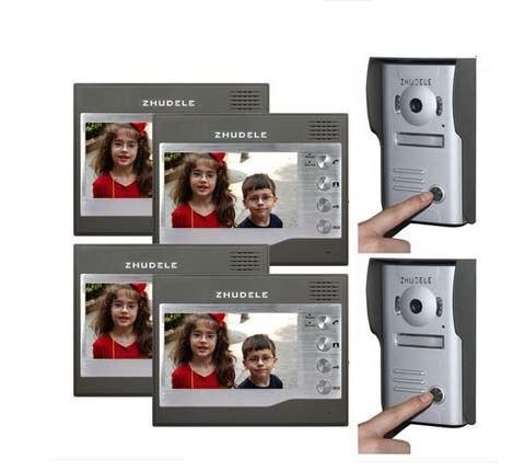 ZHUDELE Home CCTV 7 Inch Color TFT LCD Video Door phone Door Bell Intercom System IR Outdoor Camera 2cameras+4monitors