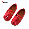 Girls Leather Shoes New 2017 Spring Casual Tassel Girls Shoes Children Solid Color Simple Kids Shoes Insole 15.5-18.3cm 9621W
