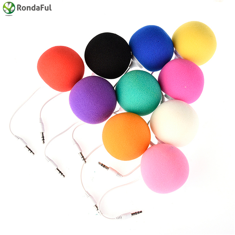Mutil-Color 3.5mm Jack Aux Audio Plug Mini Wired Speaker Music Sponge Ball Speaker for Smart Mobile Phone Tablet MP3 MP4