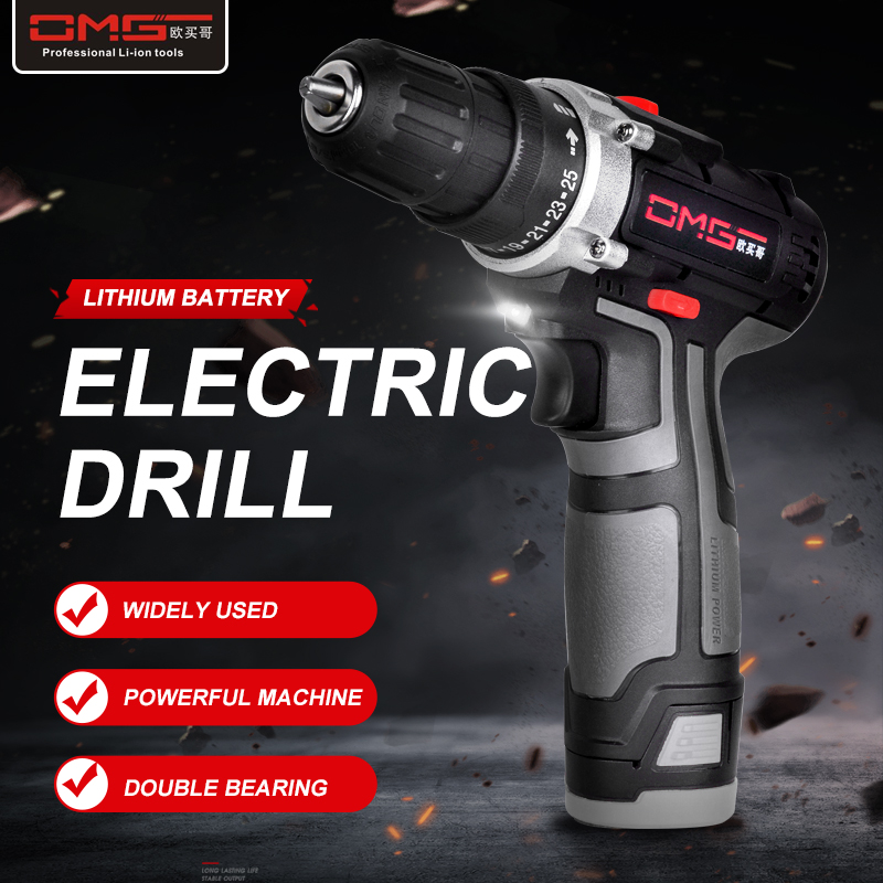 OMG  12V/16V/21V/25V Electric Drill With Rechargeable Lithium Battery Electric Screwdriver Cordless Screwdriver Two-speed