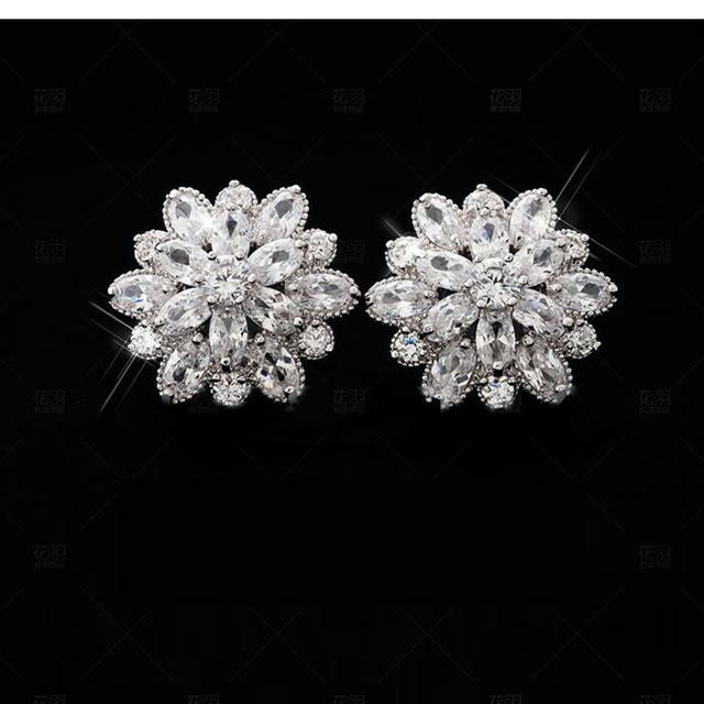 100% S925 Sterling Silver AAA Cubic Zirconia Flowers Stud Earrings For Women Luxury Bride Party Sterling-silver-jewelry Gifts