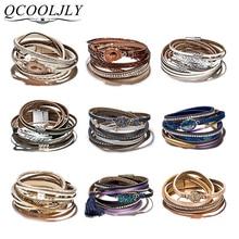 QCOOLJLY Vintage Multi Layered Magnetic Buckle Bracelet Unisex Men Women Leaf Simulation Wood Oval Retro Bracelet Tibetan Bangle layered bangle bracelet