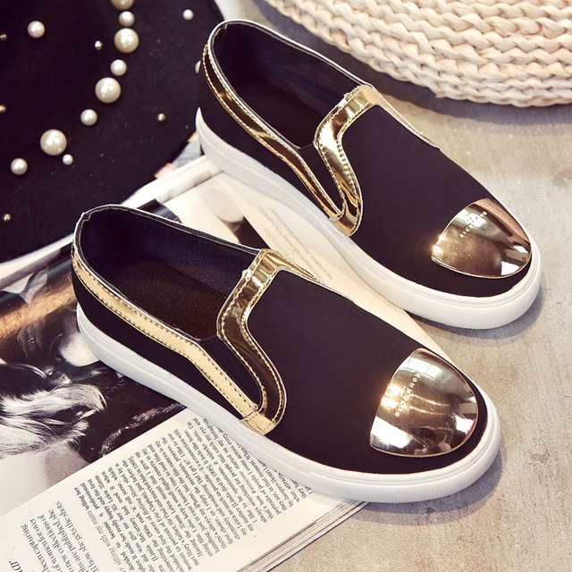 20167spring summer female shoes Metal decorat fashion able bright color round dough flat feet set leisure Women casual shoes