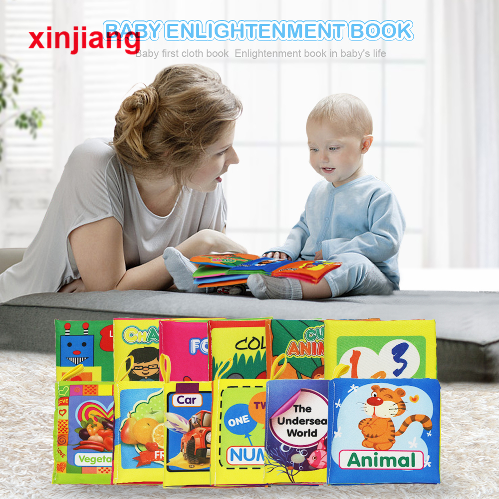 Baby Infant Toys Baby Cloth Book Early Learning Educational Toys Animals Vegetables English Story Soft Cloth Development Books }
