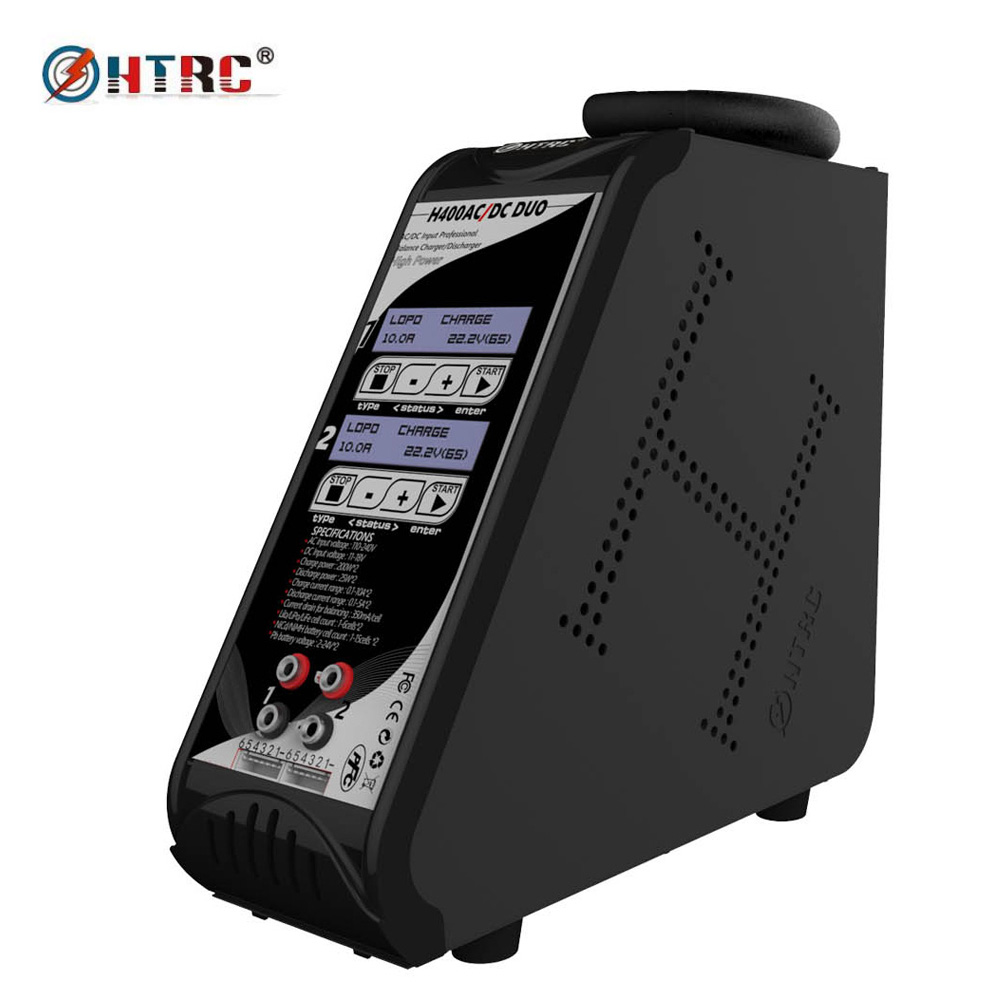 HTRC H400 DUO AC/DC 200W*2 10A*2 Dual Port Vertical Balance Charger Discharger for 1-6s Lilon/LiPo/LiFe LiHV Battery skyrc d200 intelligent twin channel lcd ac dc high power dual balance charger discharger with soldering iron