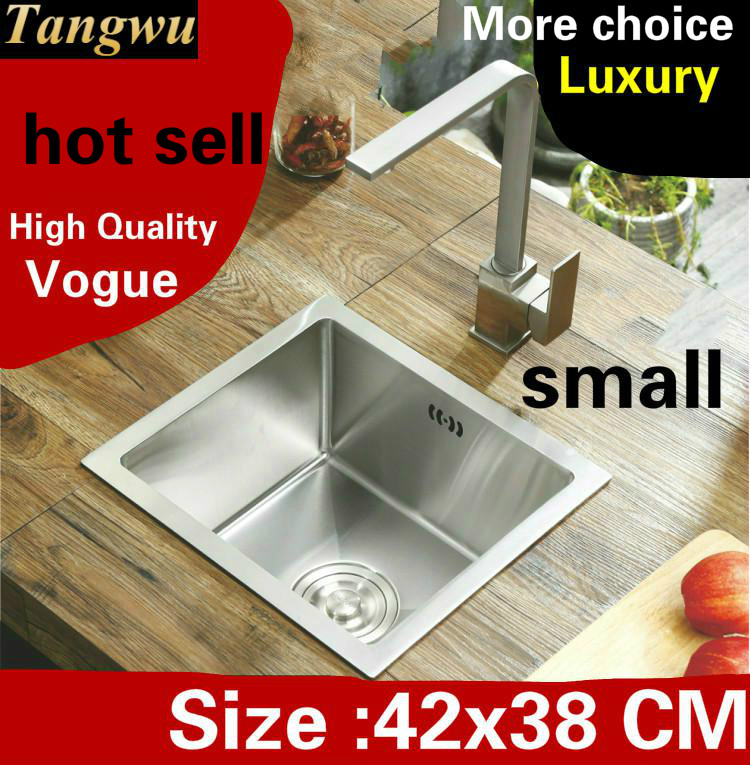 US $197.0 50% OFF|Free shipping Apartment luxury small kitchen manual sink  single trough wash vegetables 304 stainless steel hot sell 42x38 CM-in ...