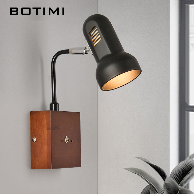BOTIMI Adjustable Wall Lamp With Switch Modern Wood LED Wall Sconce Bedside Lamps For Home Luminaire Reading Lighting Fixtures modern wall lamp adjustable arm bedside reading lamp e27 wood iron wall lighting bedroom lights high quality wwl014
