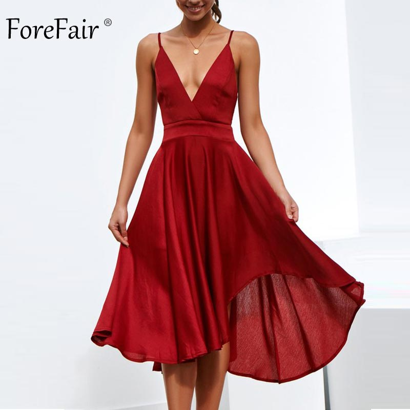 Forefair Sexy Party Dress A Line Backless Sundress Female Summer Bow High Waist Spaghetti Strap Elegant Beach Midi Dress Women