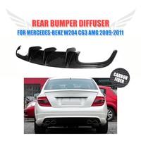 Carbon Fiber Rear diffuser Lip Bumper Guard For Benz C Class W204 C63 AMG Sedan 4 Door Only 2009 2011 Car Styling FRP Unpainted