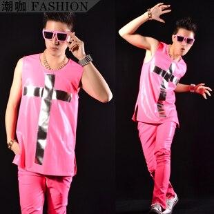 ファッション男性鏡面クロス ネオン ピンク hiphop ベスト紳士服衣装