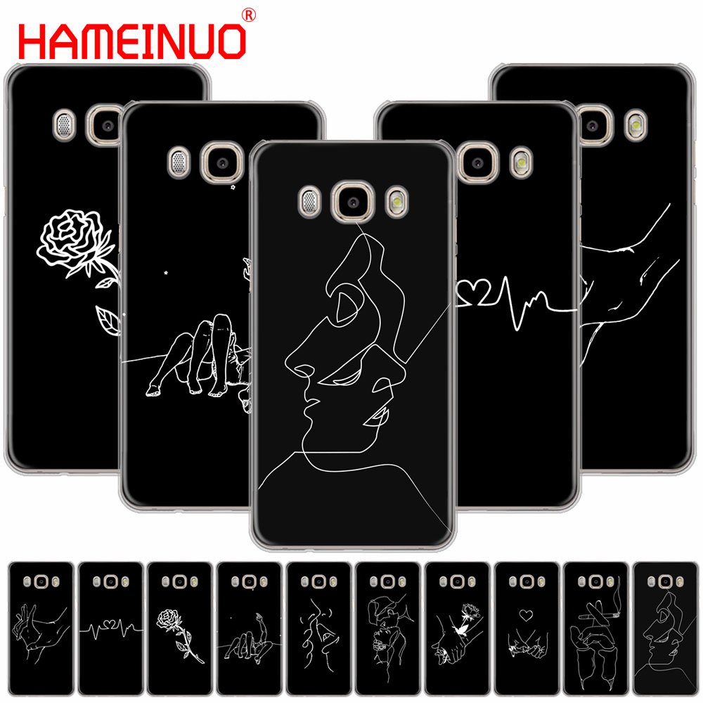 HAMEINUO Art White Line Kiss Love Heart Flower Rose cover phone case for Samsung Galaxy J1 J2 J3 J5 J7 MINI ACE 2016 2015 prime