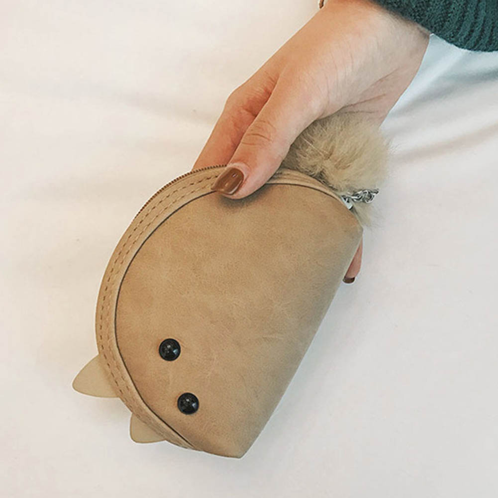 Child Mini Coin Bag With Pompon Keyring PU Leather Purse Cute Mouse Wallet Card Holder Girl Casual Money Bags WML99