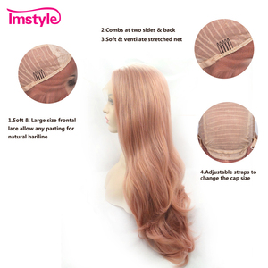 Image 3 - Imstyle Pink Wig Lace Front Wigs Synthetic Hair Lace Wig Long Natural Wavy Wigs For Women Heat Resistant Fiber Daily Wig