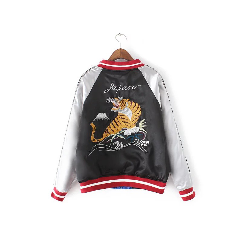 Fs0260 Side Flight Long Print Sleeve Coat Animal Double Women Wear Baseball Casual Embroidered Bomber Jacket wRafqW1np