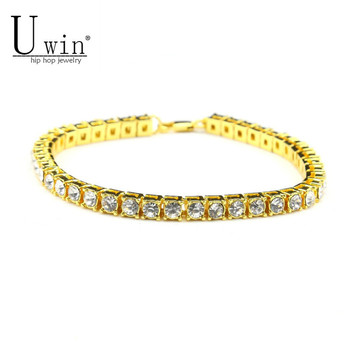 UWIN 8inch Hip hop Men Bracelet Silver/Gold Iced Out 1 Row Rhinestones Chain Bling Crystal Bracelet Women 20cm Drop Shipping