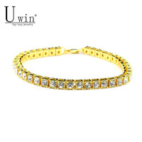 UWIN Hip hop Men Bracelet Silver/Gold Iced Out 1 Row Rhinestones Bracelet Chain Bling Crystal Bracelet Women 20cm Drop Shipping