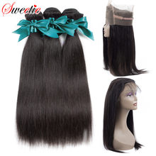 Sweetie 360 Lace Frontal Closure With Hair Bundles 4pcs/lot Brazilian Human Hair Straight Lace Closure With Baby Hair Non-Remy(China)