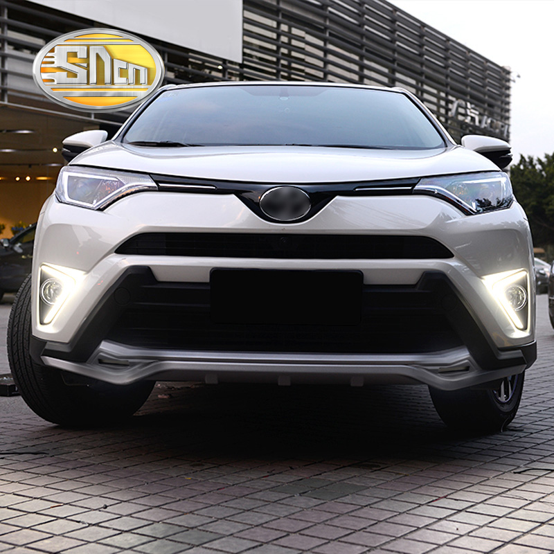 For Toyota RAV4 2016 2017,Yellow Turning Singal Waterproof ABS 12V Car DRL LED Daytime Running Light With Fog Lamp Hole SNCN