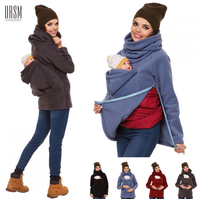 3 In 1 Multi - functional Mother Kangaroo Sweater Autumn Winter Maternity Women 's Clothing Thickened Pregnancy Wearing Coat