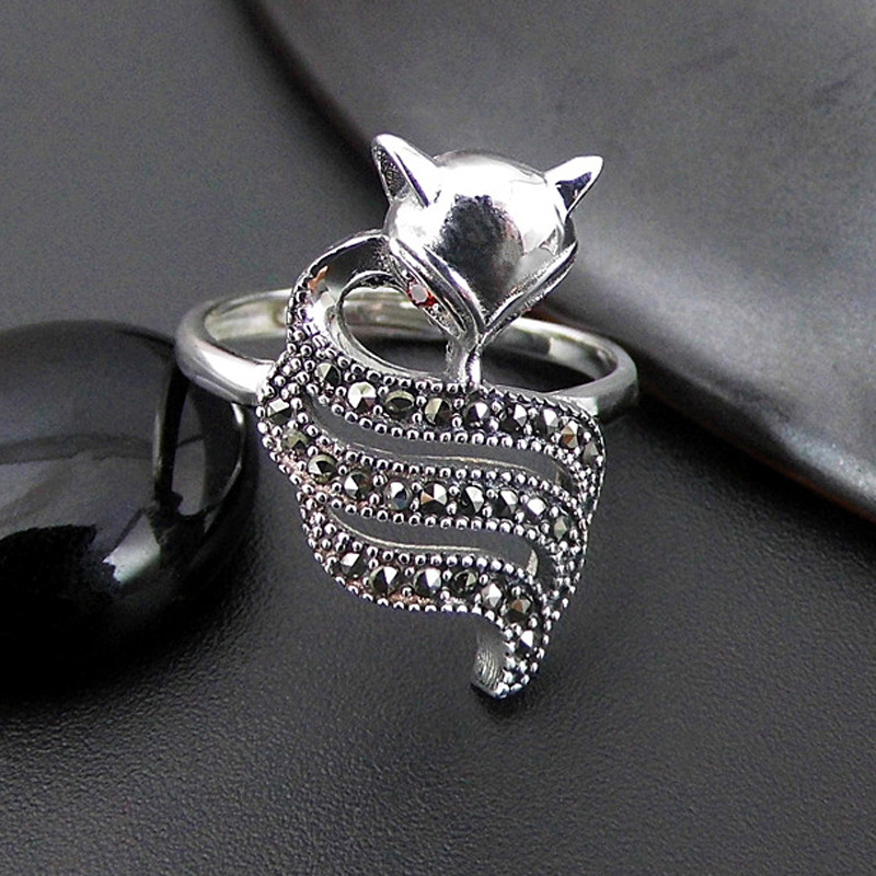 Fashion S925 Sterling Silver Retro Thai Silver Fox Open Ended Ring New Lady Index Finger Ring