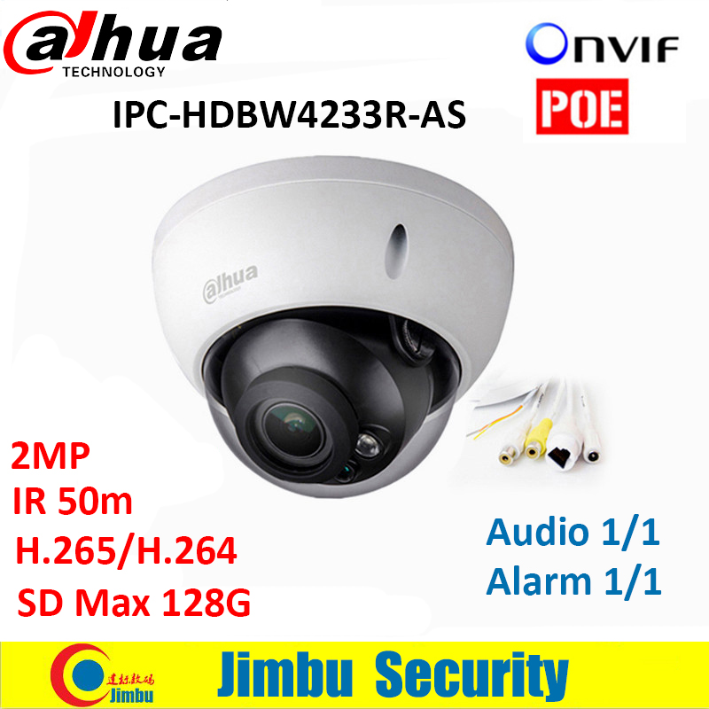 все цены на Dahua 2MP Camera  IPC-HDBW4233R-AS IR Mini Dome Network camera Audio SD card Stellar H.265 Poe IP function cctv system онлайн