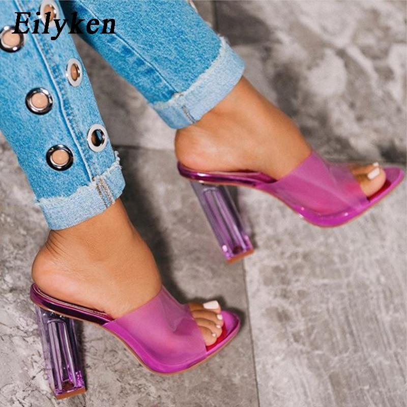 Eilyken/женские шлепанцы; Цвет фиолетовый, желтый; из чистого ПВХ; прозрачные летние шлепанцы на высоком квадратном каблуке; босоножки; Туфли лодочки; размер 42