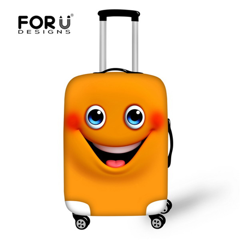 Thick Waterproof Travel Suitcase Cover Funny 3D Smiling Face Print Elastic Luggage Protective Covers for 18-30inch SuitCase Case