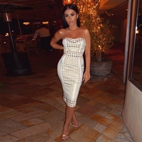 Ocstrade Sexy Bandage Dress 2017 Women Summer New Arrival Gold And Cream Dogtooth Strapless High Quality