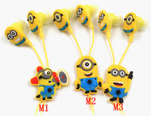 Cute 3.5mm Earphone Cartoon Minions In Ear Earphones For Smartphone Mobile Phones Headphone For CellPhone Tablet PC MP3 MP4 2015