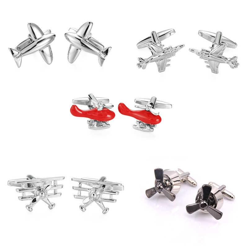 Novelty Brand Plane Cufflinks Fashion Airplane Design Brass Material Gift cuff links wholesale&retail Personalities Jewelley