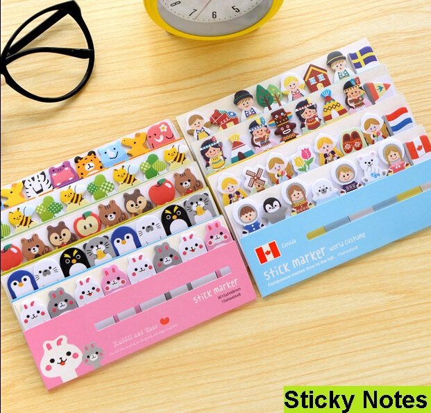1pack/ Lot  Cartoon Animals Sticky Note Stick & Memo Paper Bookmark Stationery Office School Supplies Message Post