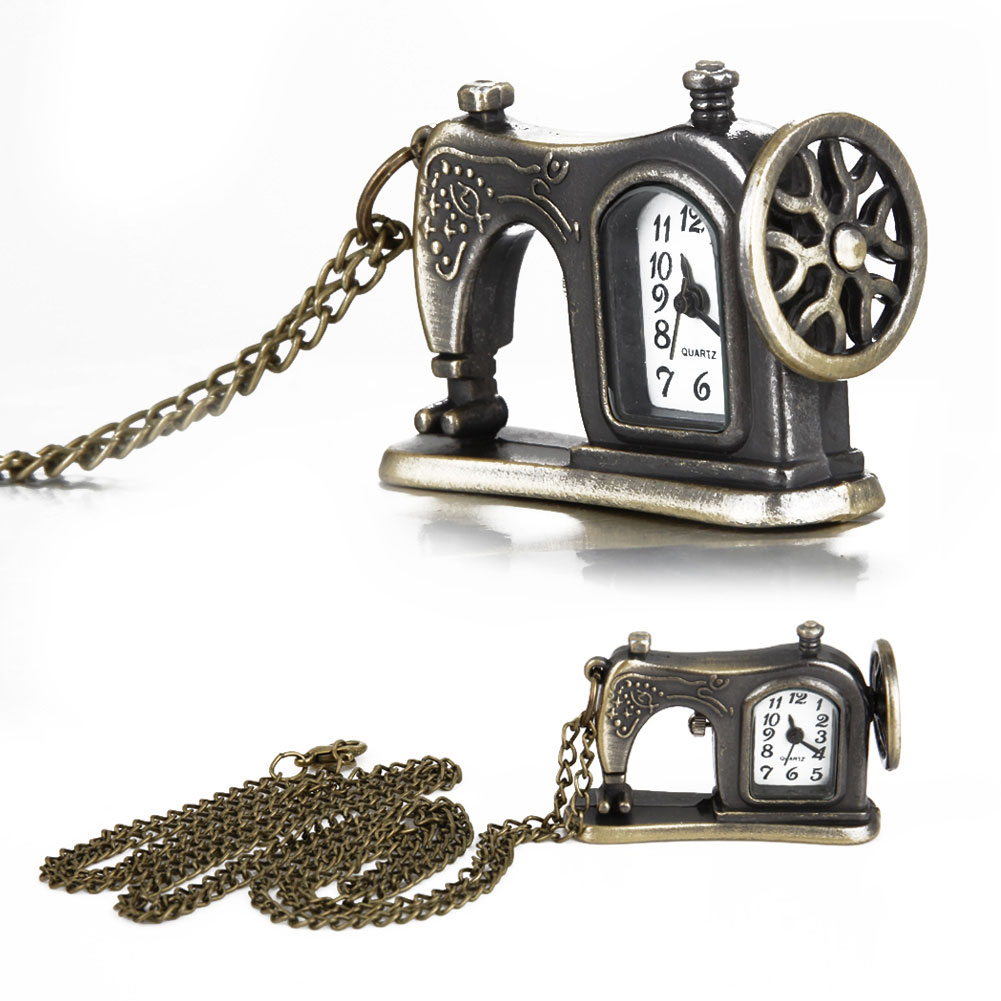 Retro Antique Bronze Alloy Sewing Machine Design Pocket Watch With Necklace Chain Best Gift  88 TT@88