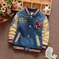 2016 осенью новый детский длинными рукавами хлопок куртка Корейских детей мальчиков бейсбол равномерное кардиган пальто