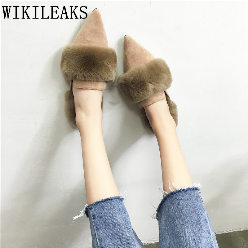 2017 famous brand ladies shoes women flats high quality fur mules slip on loafers zapatillas mujer casual slides sapato feminino new designer women fur flats luxury brand slip on loafers zapatillas mujer casual ladies shoes pointed toe sapato feminino black