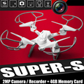 Free Shipping Super S 4-Axis 2.4G 4CH Drone RC UFO Quadcopter Helicopter Remote Controller Headless W/2MP Camera 4GB Memory Card