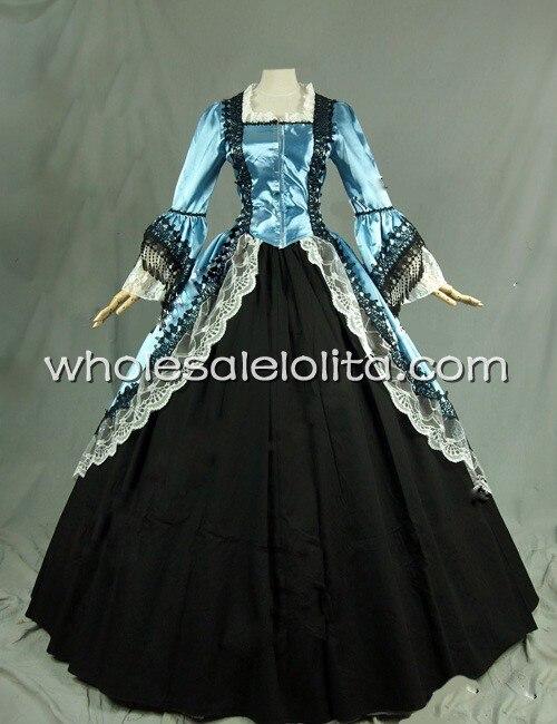 Тематическое платье 18 век голубое и черное платье со времен Марии Антуанетты одежда для выступлений Ренессанса - Цвет: blue and black