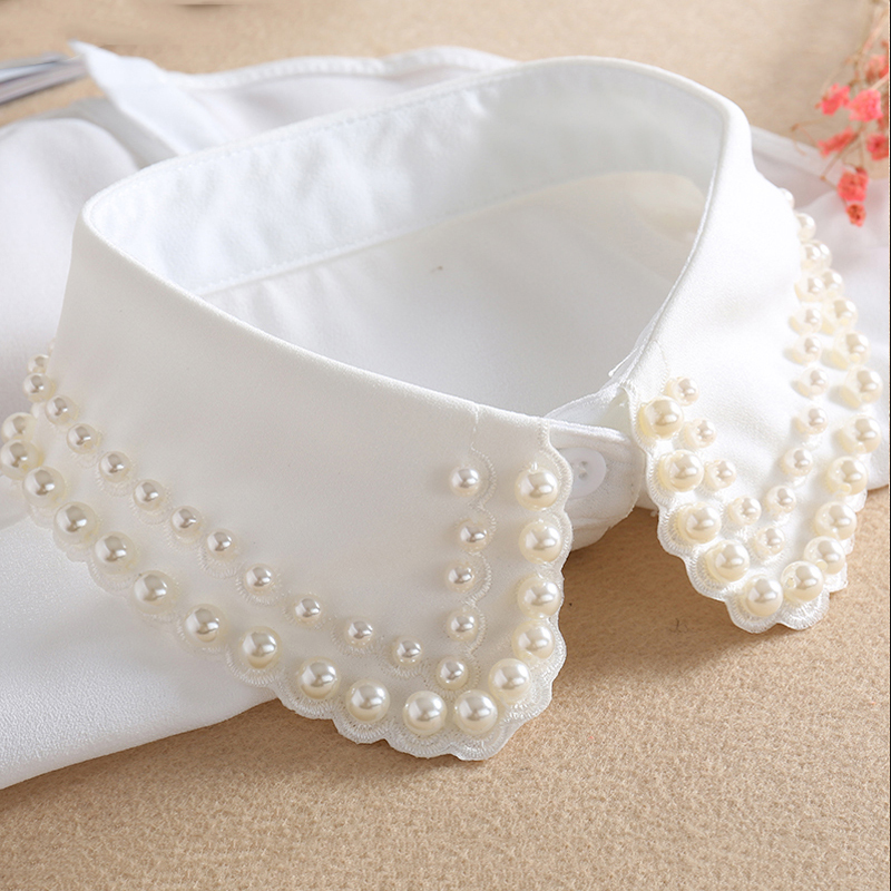White Detachable Collar For Women 2019 New Ladies Tie Beaded False Fake Collar Shirt Black Removable Nep Blouse Kraagie Faux Col