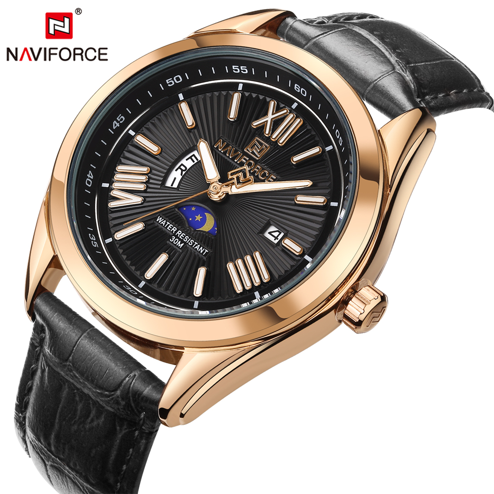 NAVIFORCE 2017 New Arrivals Men Quartz Watch Roman Number Display Clock Fashion Casual Luxury Man Watches Saat Relogio Masculino gorben brand classical silver polishing quartz men pocket watch round roman number necklace relogio de bolso gift men watch