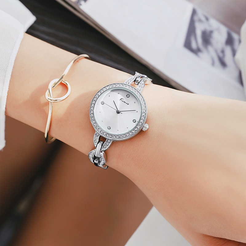 купить KIMIO Top Brand Full Rhinestone Women Bracelet Watch 2018 Silver Luxury Dress Watches Ladies Crystal Quartz Wristwatch Clock по цене 1155.28 рублей