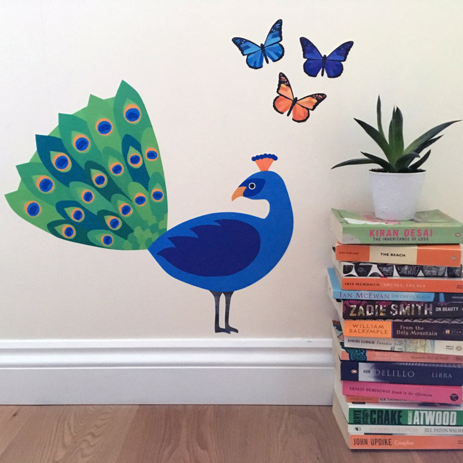 c4f6ae9b27d Peacock Opening Wall Sticker Colorful Butterfly Decals Vinyl Removable  Murals For Living Room Children Room Home