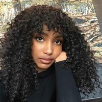 Глубокие вьющиеся синтетические волосы на кружеве человеческие Искусственные парики с Синтетические чёлки волос 250% плотность бразильский
