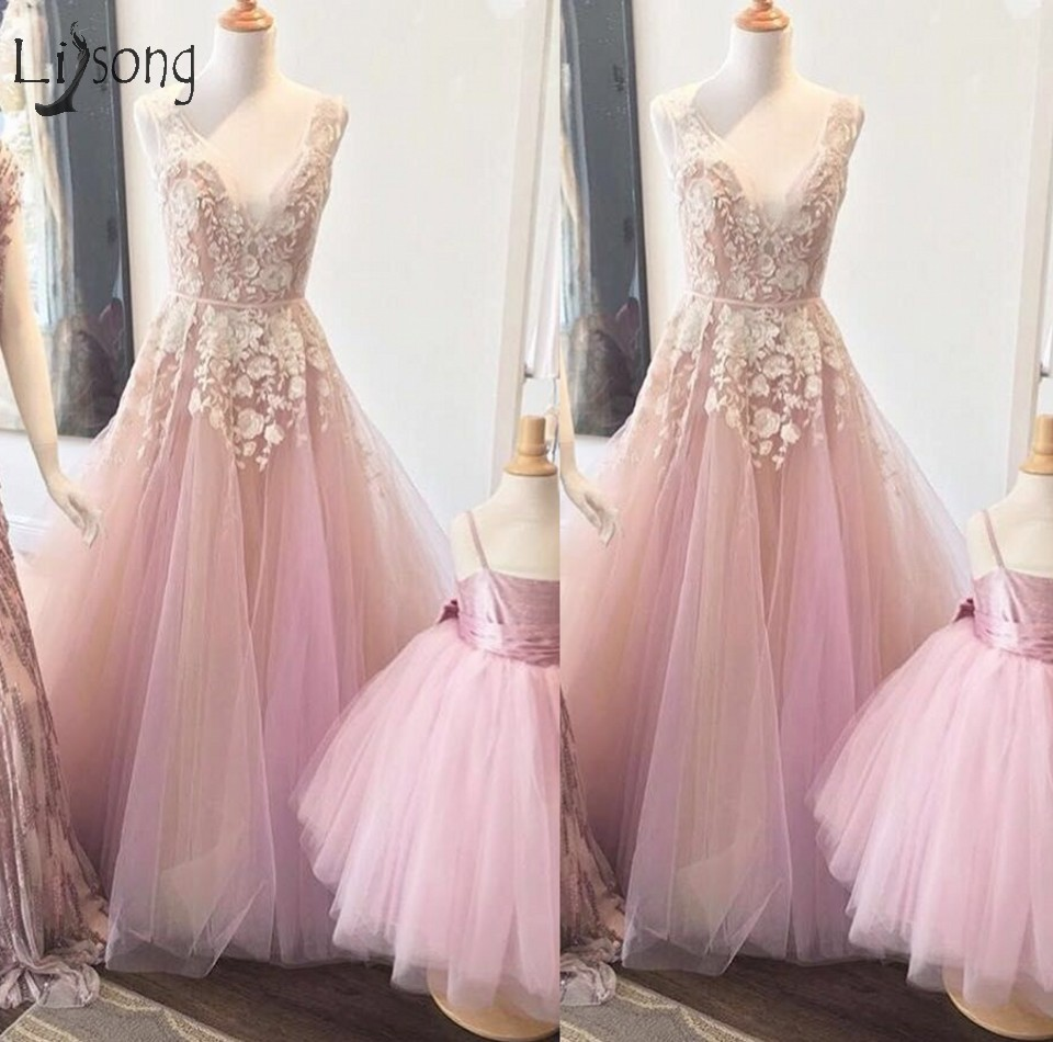 Pretty Blush Pink 3D Flower Long   Prom     Dresses   2018 Abendkleider Lace A-line Tulle   Prom   Gowns V-neck Vestidos Formal Party   Dress