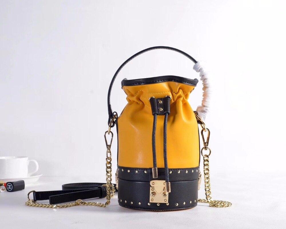 2018 new lady genuine leather rivet women's bucket bag famous brand fashion vintage design shoulder crossbody bag bolsa feminina цены