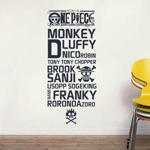 Image 1 - Мультяшная Виниловая наклейка для стен, мультяшный дизайн, наклейка для украшения стен аниме Пиратская, украшение для комнаты с морским фанатом, HZW09