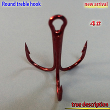 2017new arrival  RED treble hook size:4#-14# number:100pcs/lot high carbon steel high quality hooks