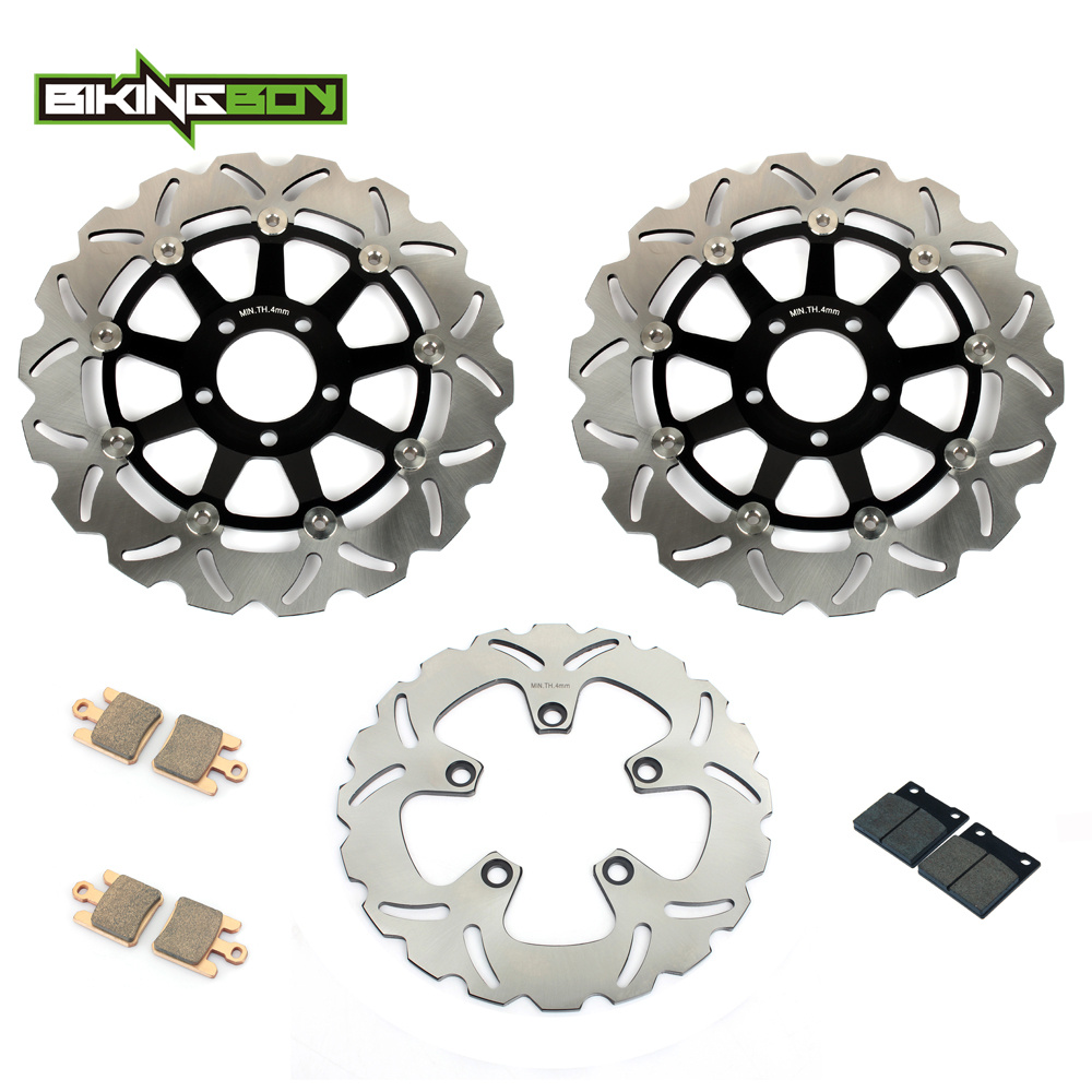 BIKINGBOY Motorcycle New Front Rear Brake Disk Disc Rotor Pad for Kawasaki ZX12R ZX-12R ZX 12R NINJA 2004 2005 2006 300mm+230mm